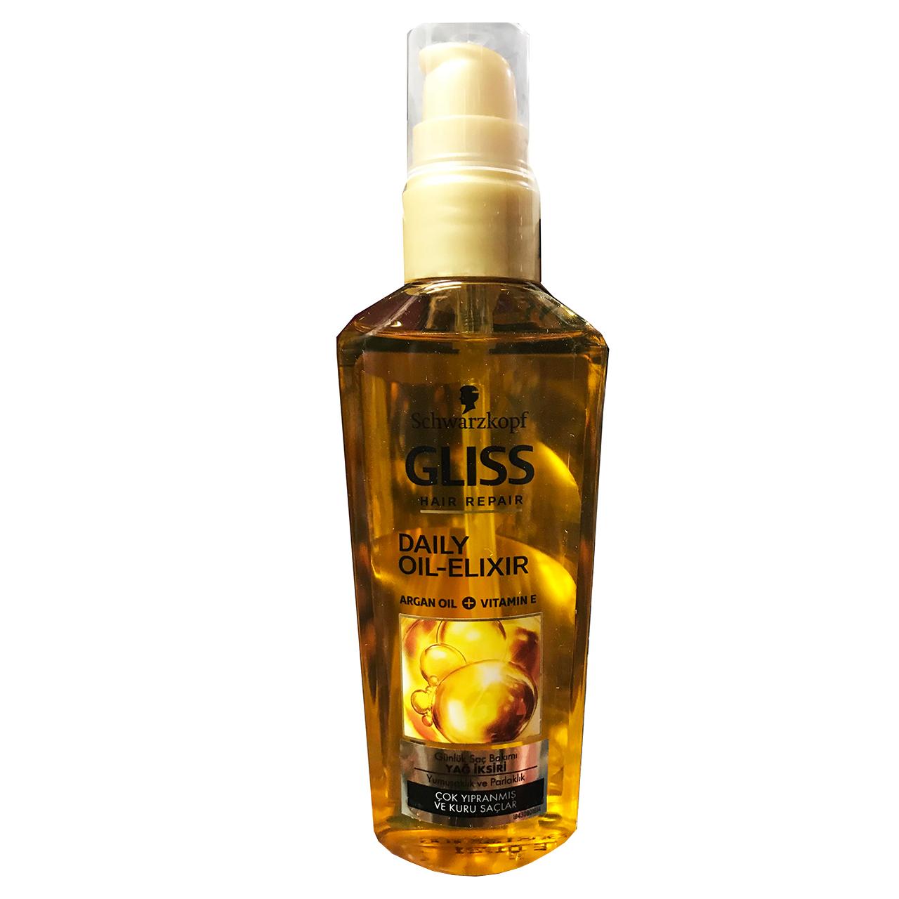 روغن ترمیم کننده مو خشک و آسیب دیده گلیس مدل Daily Oil Elixir حجم 100 میلی لیتر
