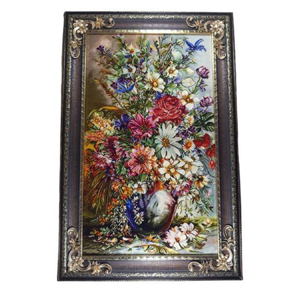 تابلو فرش ماشینی مدل گل و گلدان کد 022