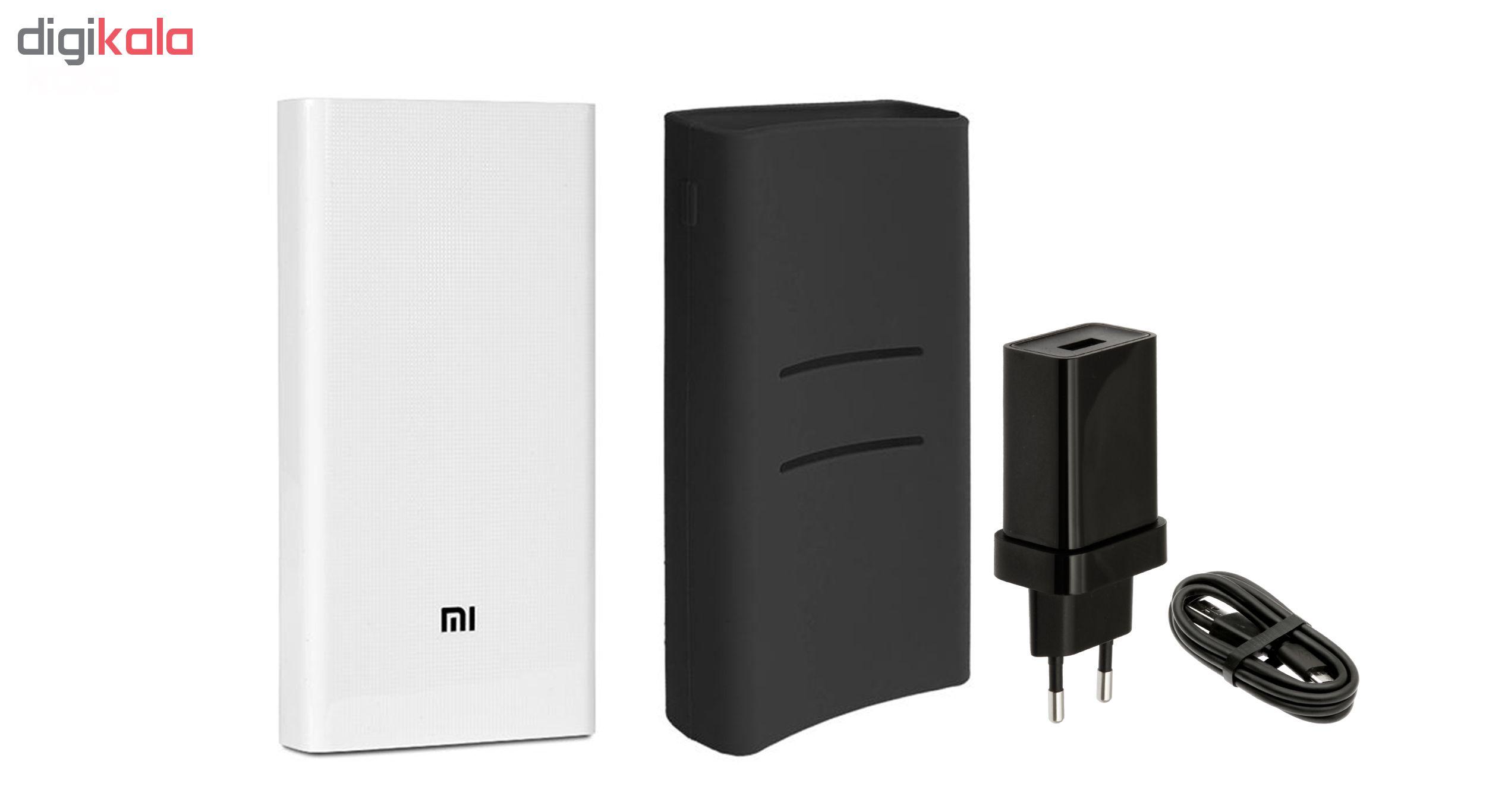شارژر همراه شیائومی مدل 2C ظرفیت 20000 میلی آمپر ساعت به همراه کاور سیلیکونی و شارژر دیواری وکابل تبدیل USB به microUSB