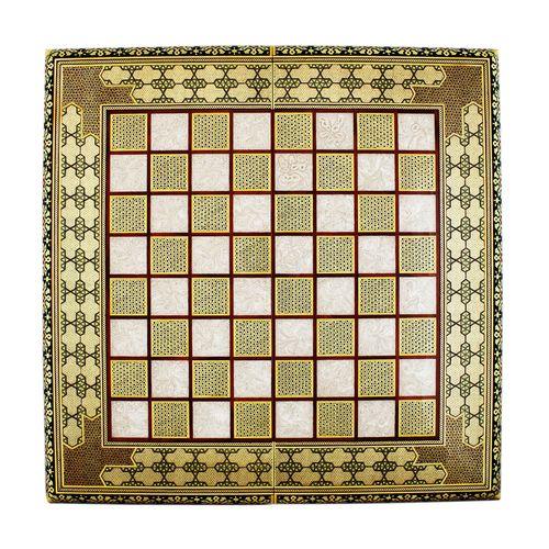 تخته نرد و صفحه شطرنج خاتم کاری طرح پر سیم و استخوان کد SH1