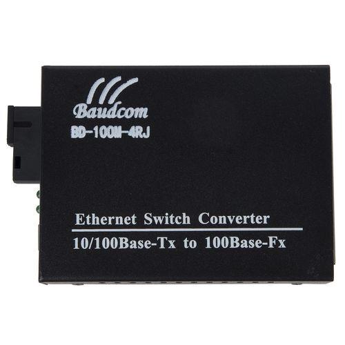 مبدل فیبر نوری به اترنت چند حالته بادکام مدل BD-100M-4RJ 1310