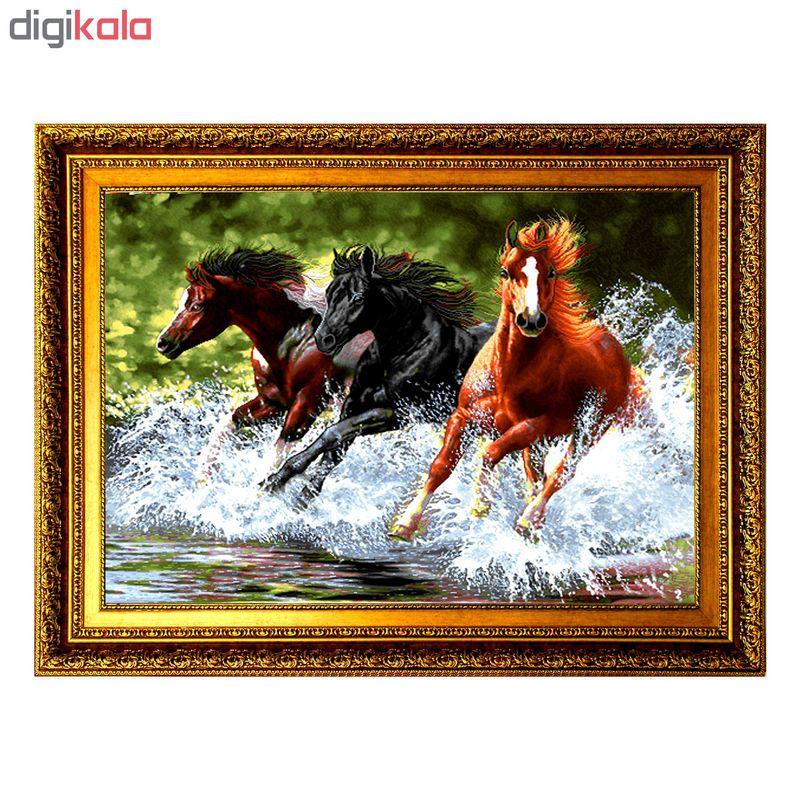 تابلو فرش ماشینی طرح اسب های وحشی کد VA083