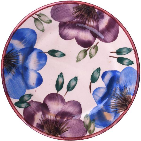پیش دستی سفالی ملکه خورشید طرح گل های بنفش وآبی مدل 02-19