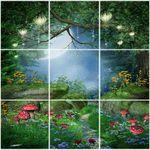 تایل سقفی طرح جنگل زیبا و مهتاب کد K 1111-9 سایز 60x60 سانتی متر مجموعه 9 عددی