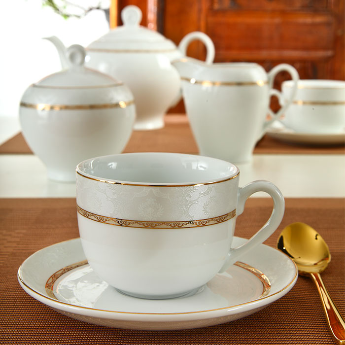 عکس سرویس چای خوری 12 پارچه چینی زرین ایران مدل هدیه طلایی درجه عالی