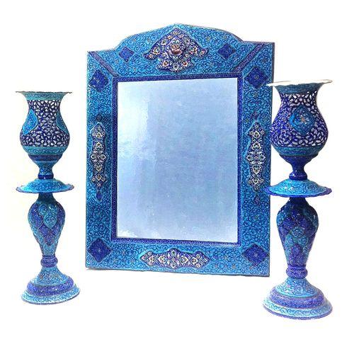 آینه و شمعدان میناکاری لوح هنر کد 722