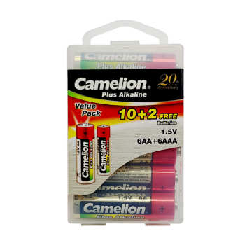 باتری قلمی و نیم قلمی کملیون مدل Plus Alkaline بسته 12 عددی