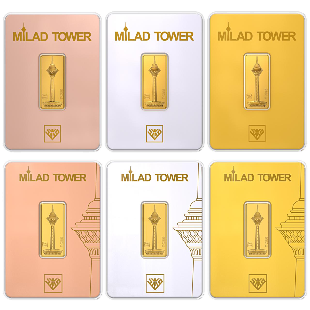 قیمت پلاک طلا 24 عیار طلای محمد طرح برج میلاد B مجموعه 6 عددی