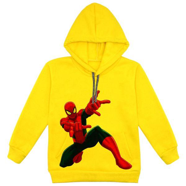 هودی پسرانه مدل مرد عنکبوتی F02 رنگ زرد