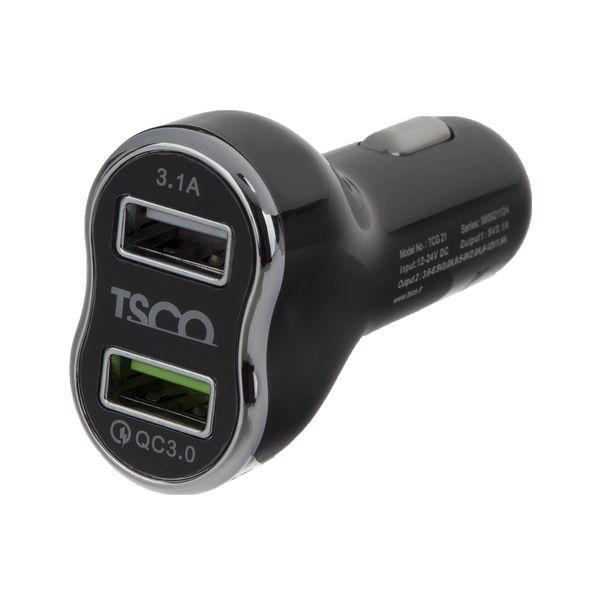 شارژر فندکی تسکو مدل TCG 21 به همراه کابل تبدیل USB به microUSB