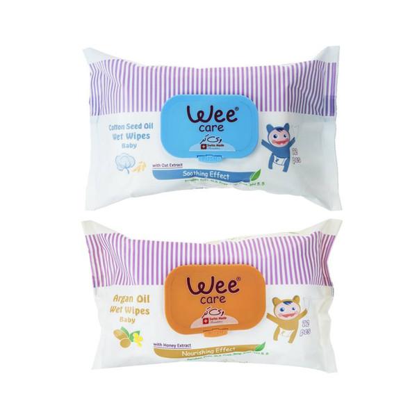 دستمال مرطوب کودک وی کر مدل Wet wipes مجموعه دو عددی