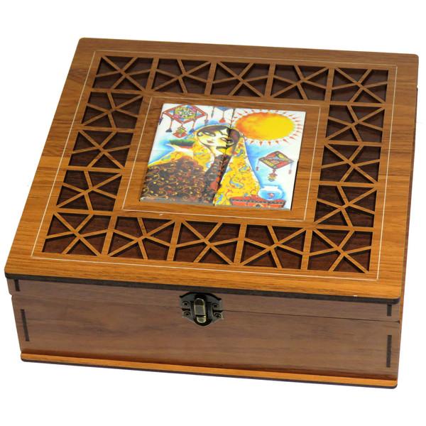 جعبه چای کیسه ای لوکس باکس طرح ناز خاتون کد LB2107