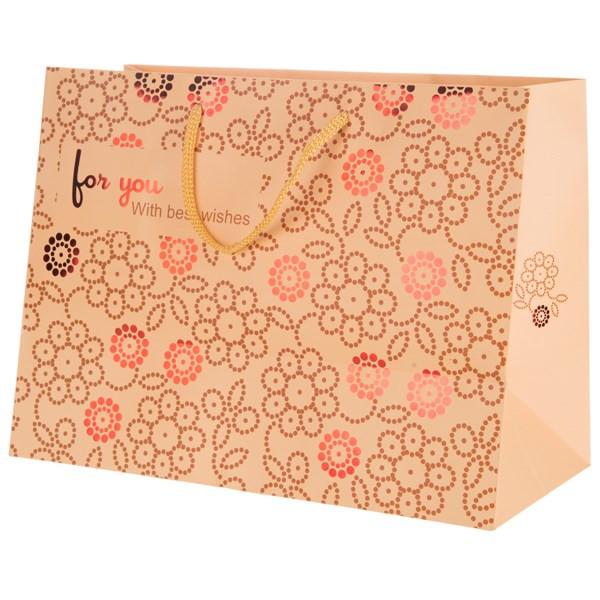 پاکت هدیه افقی جیحون مدل For You طرح گل های طلایی