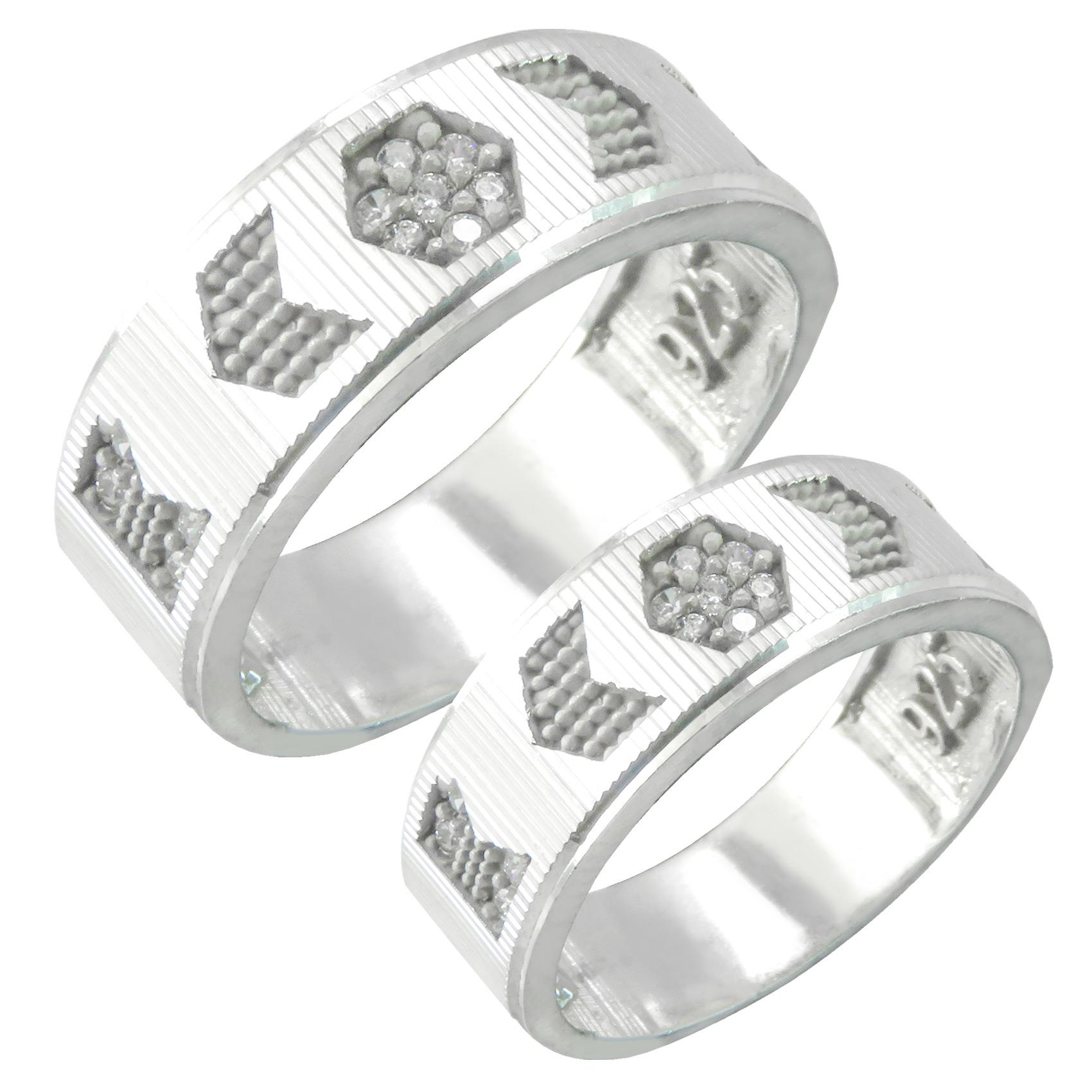 ست انگشتر نقره زنانه و مردانه کد AV156