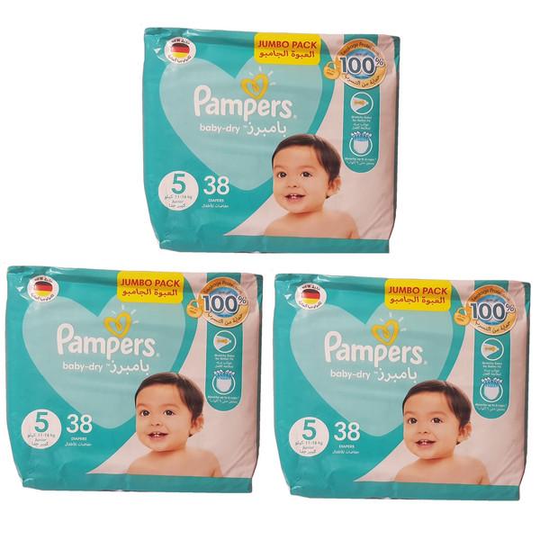 پوشک پمپرز مدل baby dry سایز 5 مجموعه 3 عددی