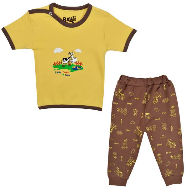 ست تی شرت و شلوار نوزادی باولی مدل گاو کد 1