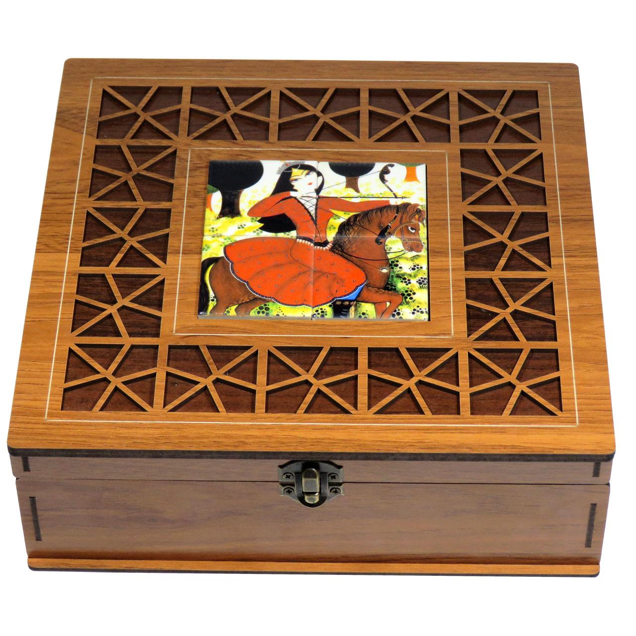 جعبه چای کیسه ای لوکس باکس طرح خاتون کد LB2109