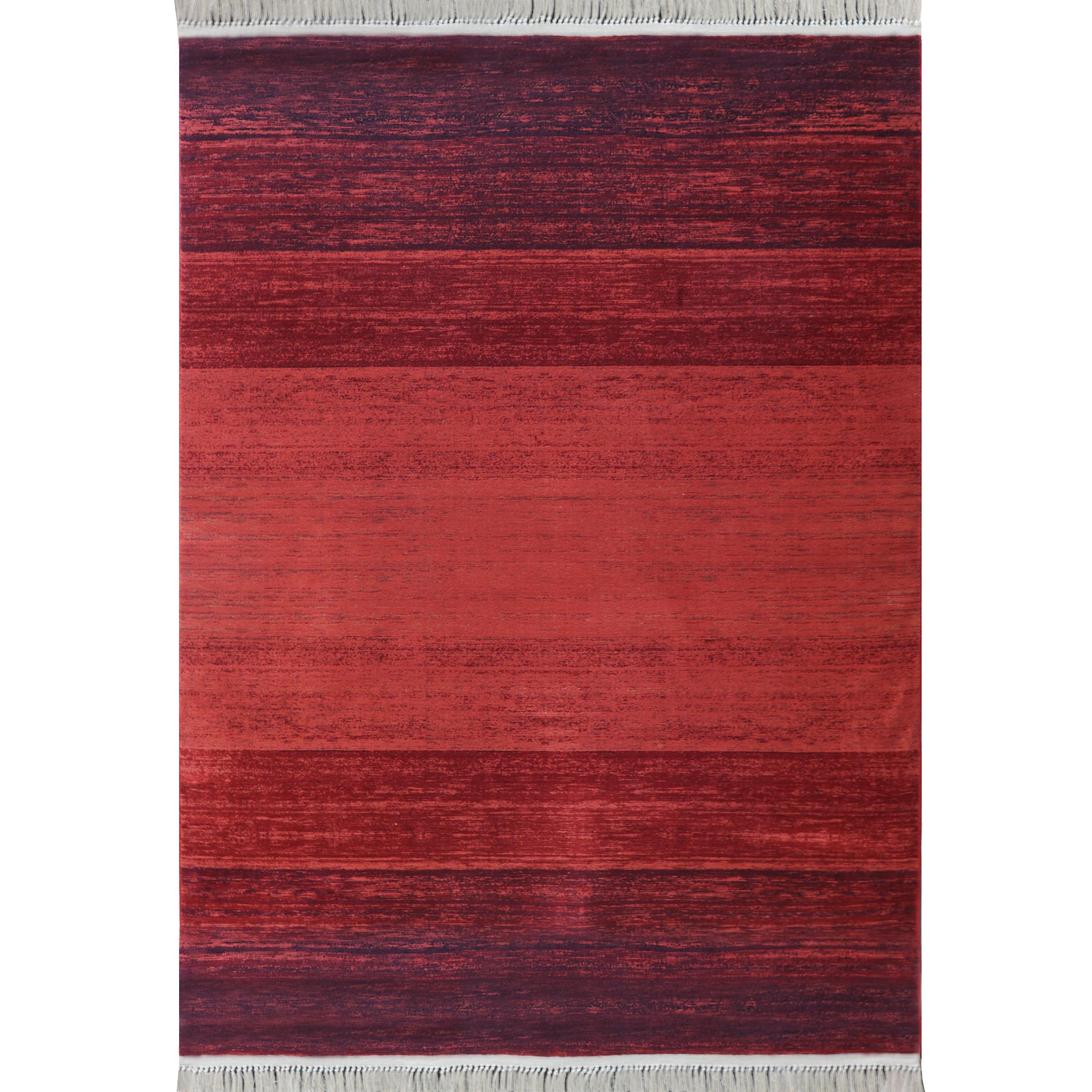 فرش ماشینی رادین طرح گبه 13 رنگ زمینه لاکی
