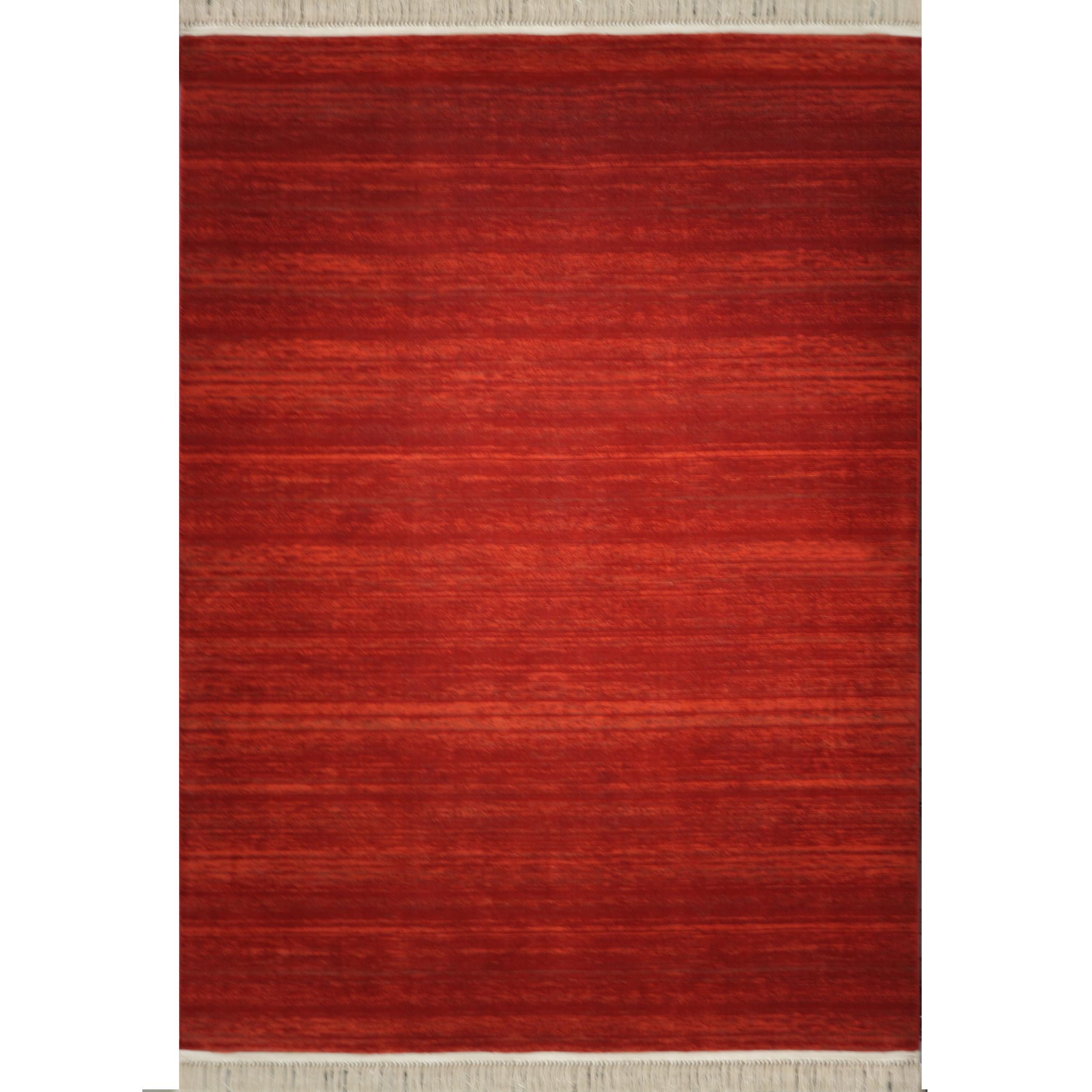 فرش ماشینی رادین طرح گبه 14 رنگ زمینه لاکی