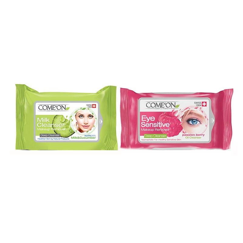 پک دستمال مرطوب کامان مدل milk cleanser بسته 20 عددی به همراه دستمال پاک کننده آرایش چشم بسته 10 عددی