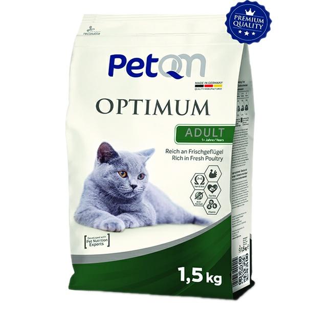 غذای خشک گربه بالغ پت کیوم مدل OPTIMUM وزن 1.5 کیلوگرم