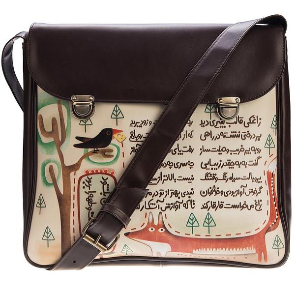 کیف دوشی چرم مصنوعی گالری فرفره رنگی طرح شعر روباه و زاغ