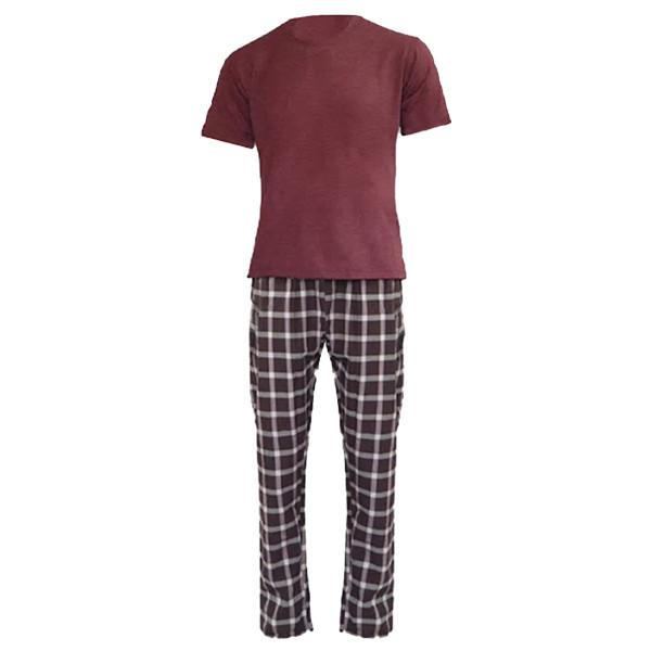 ست تی شرت و شلوار مردانه لباس خونه کد 990513 رنگ زرشکی