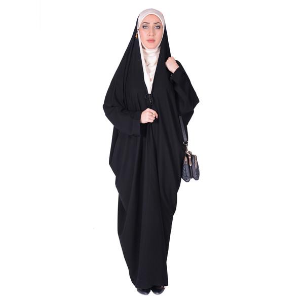 چادر اماراتی کرپ حریرالاسود شهر حجاب مدل 8026