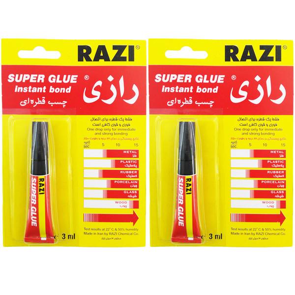چسب قطره ای رازی مدل Super Glue حجم 3 میلی لیتر بسته 2 عددی