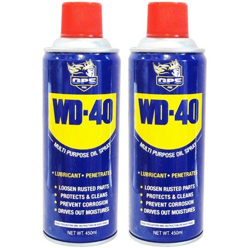 اسپری روان کننده و زنگ بر جی پی اس گل پخش مدل WD-40 حجم 450 میلی لیتر بسته 2 عددی