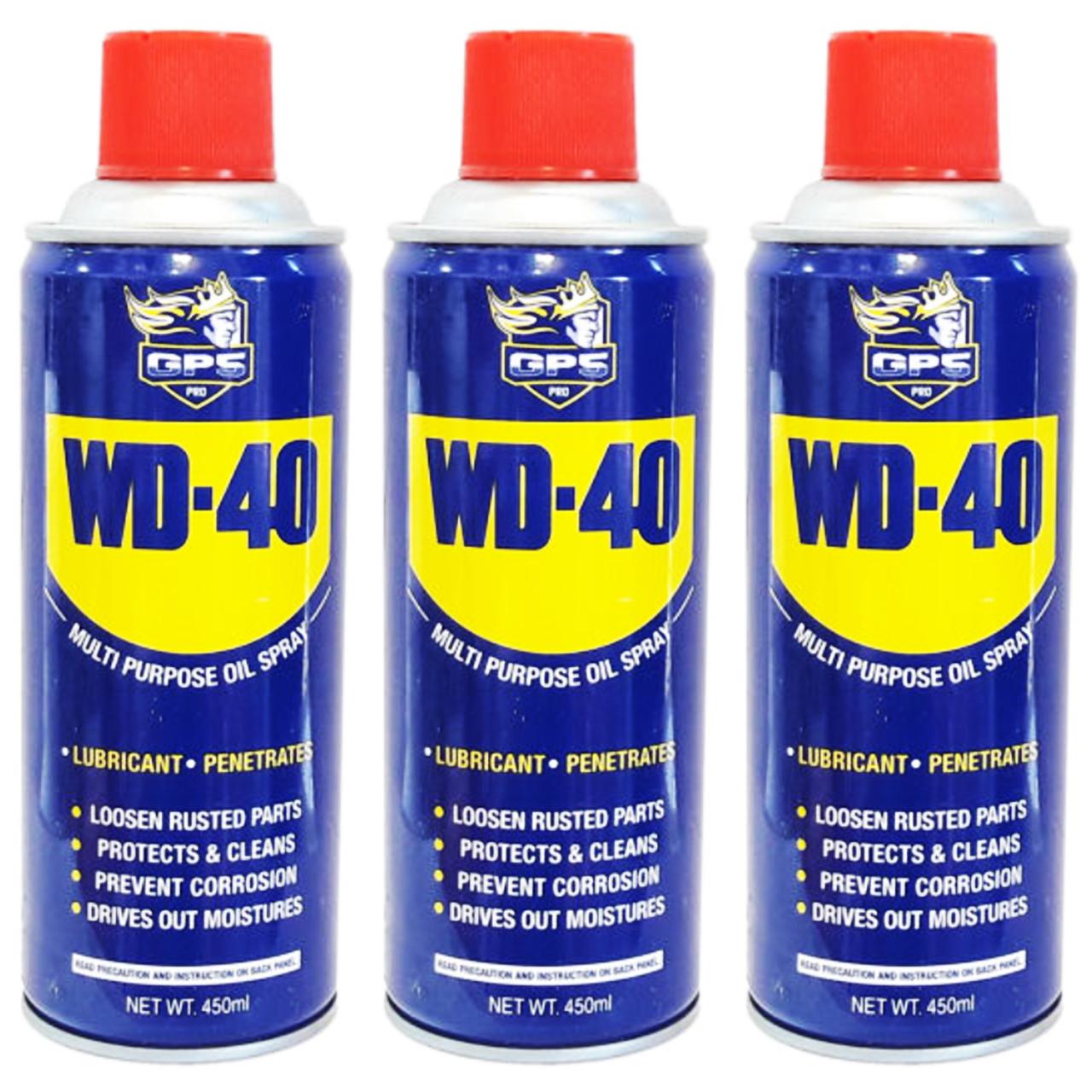 عکس اسپری روان کننده و زنگ بر جی پی اس گل پخش مدل WD-40 حجم 450 میلی لیتر بسته 3 عددی