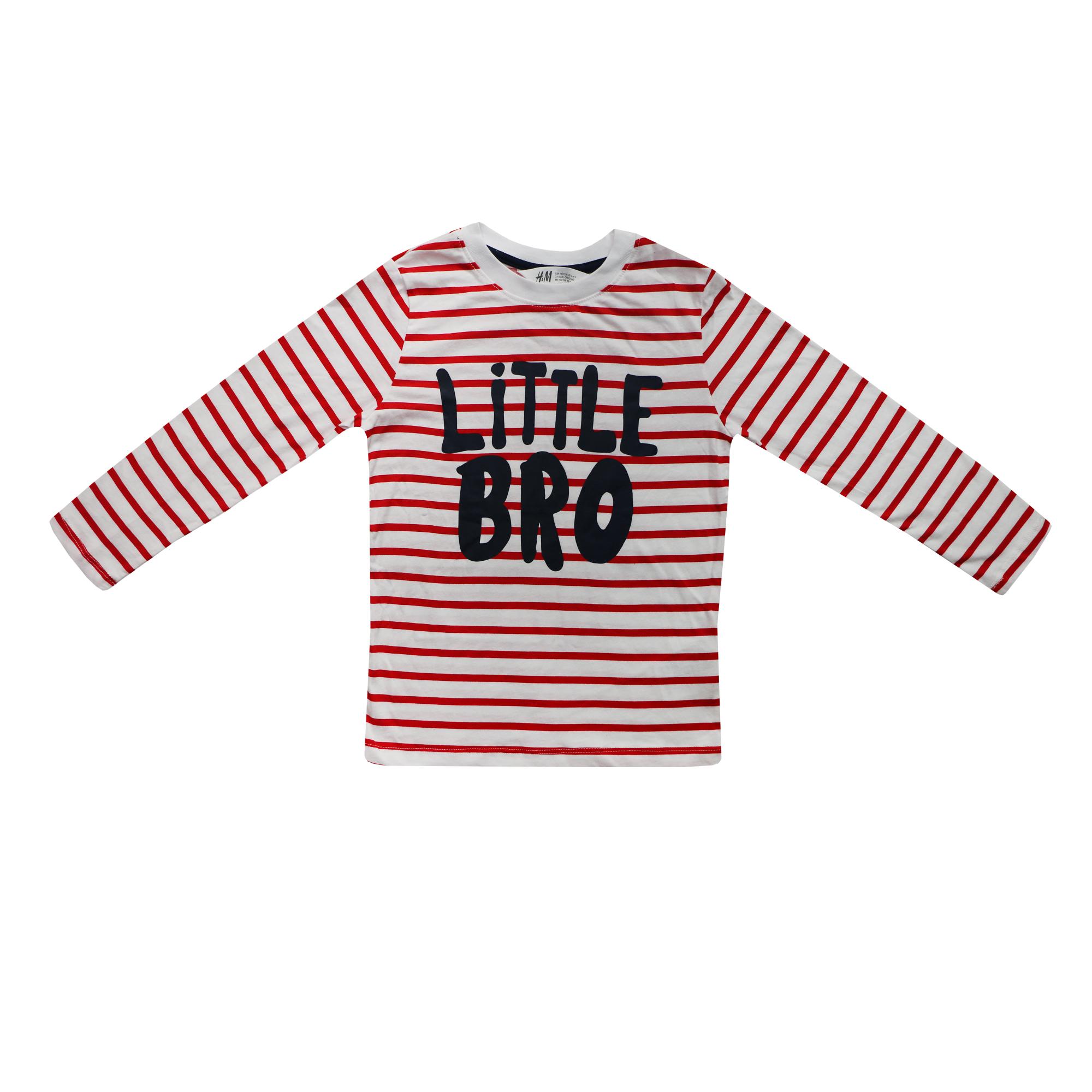 تی شرت آستین بلند دخترانه اچ اند ام مدل Little BRO