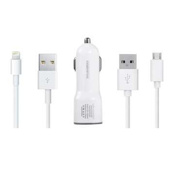 شارژر فندکی ریمکس مدل CC201 به همراه کابل شارژ لایتنیگ و کابل شارژ Micro USB