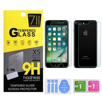 محافظ صفحه نمایش و پشت شیشه ای 711 مدل A+ مناسب برای گوشی موبایل اپل آیفون 8 پلاس