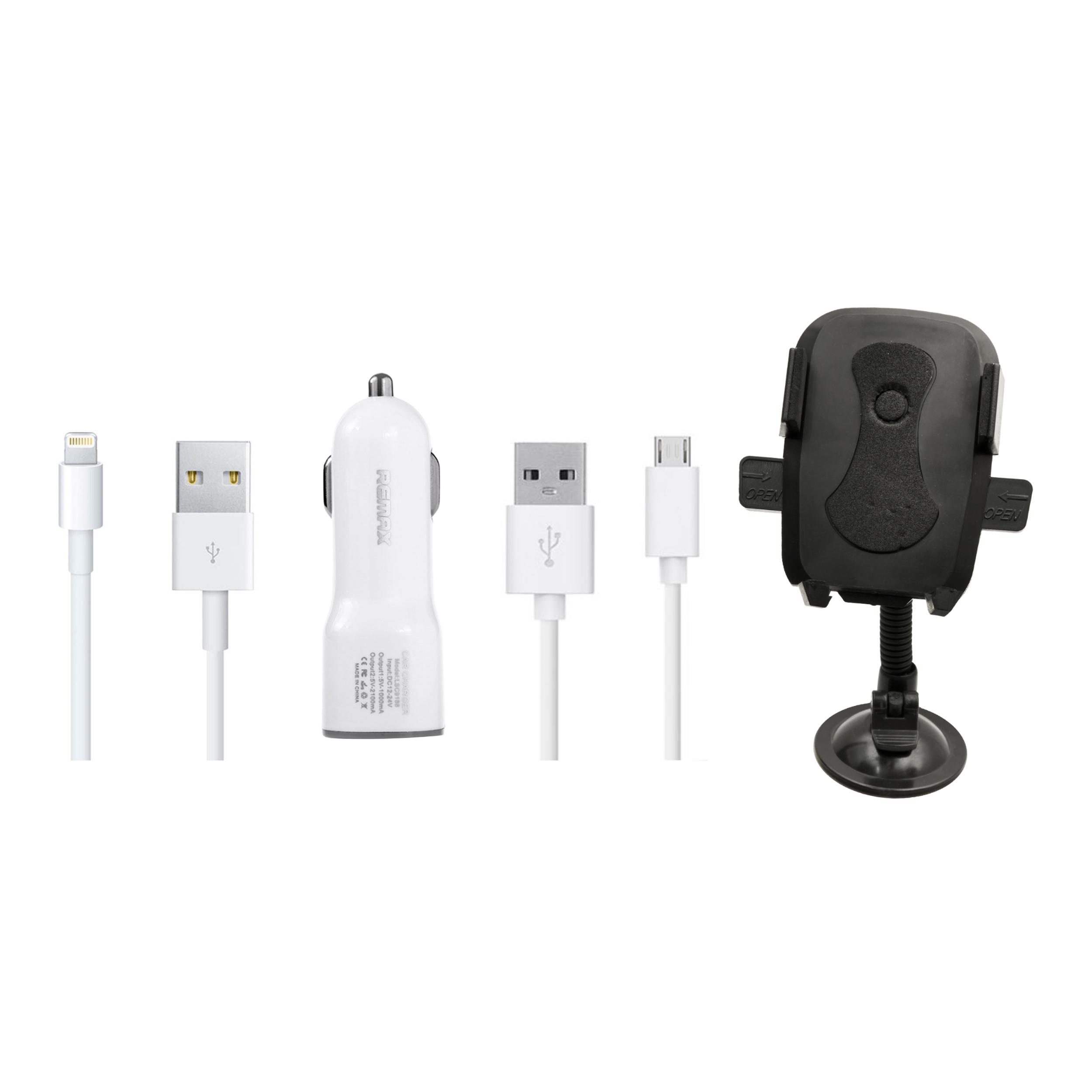 شارژر فندکی ریمکس مدل CC201 به همراه پایه نگهدارنده گوشی موبایل و کابل شارژ لایتنیگ و Micro USB  