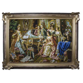 تابلو فرش دستبافت طرح مهمانی پیانو زن کد F17  