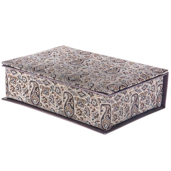 جعبه کارد و چنگال ترمه سنا مدل وزیری طرح یاس شکلاتی