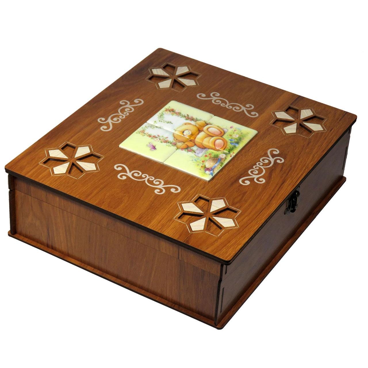 جعبه پذیرایی دمنوش چای کیسهای لوکس باکس طرح فانتزی کد LB4106