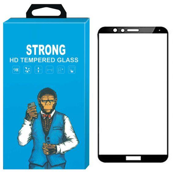 محافظ صفحه نمایش شیشه ای Strong مدل Fullcover مناسب برای گوشی موبایل هوآوی Honor 7X
