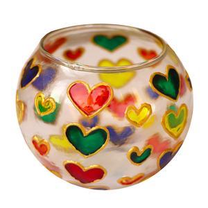 جا شمعی شیشه ای طرح قلب