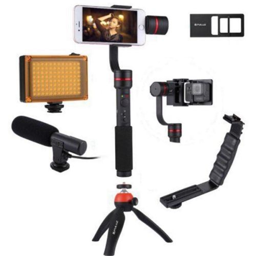 دسته فیلم برداری پلوز مدل G1 Stabilizer همراه با فلاش و میکرفون و هولدر دوربین گوپرو مناسب برای دوربین ورزشی گوپرو
