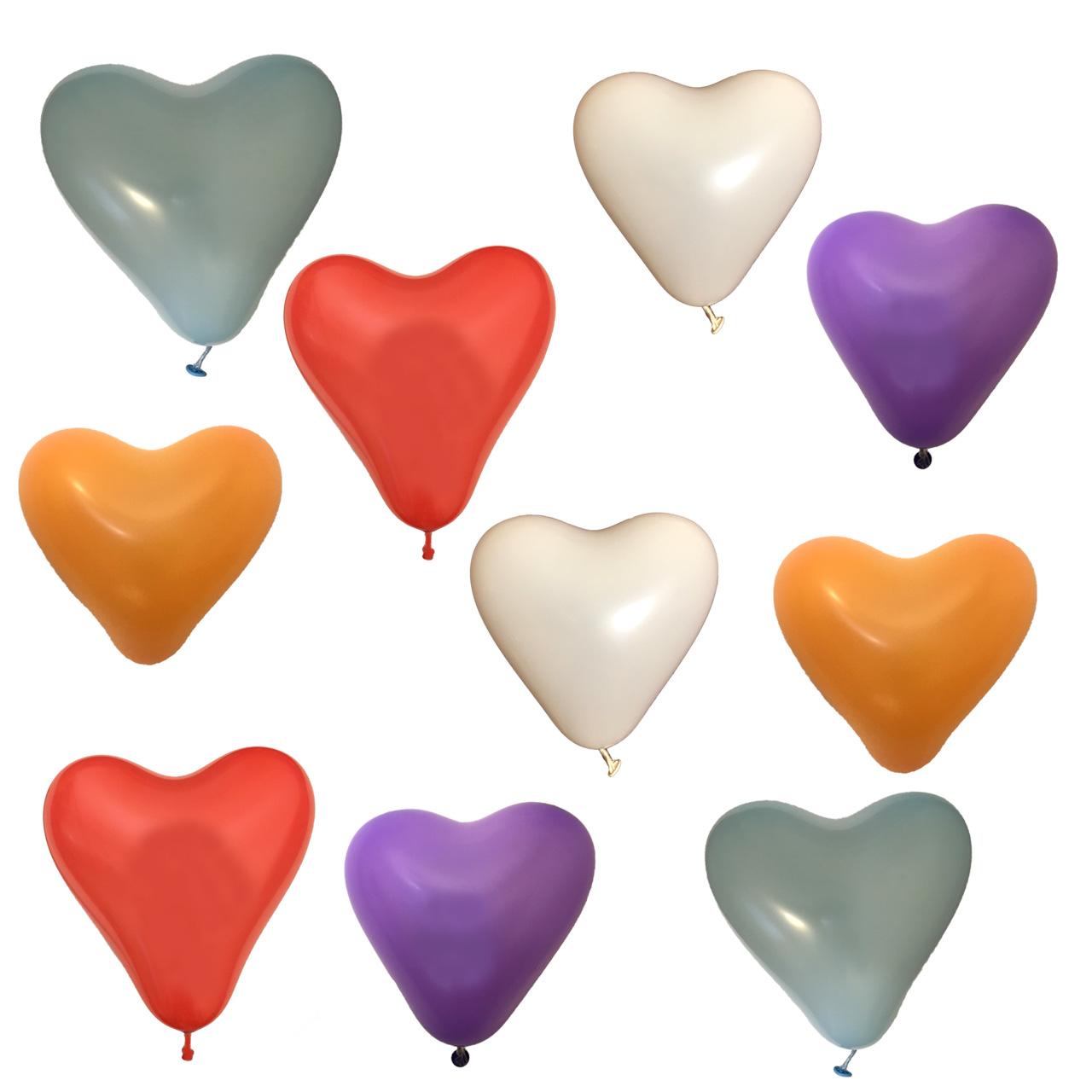 عکس بادکنک لاتکس طرح قلبی مدل Heart Balloons مجموعه 10 عددی