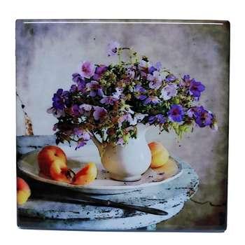 کاشی خشتی طرح نقاشی گل و گلدان کد EK14  
