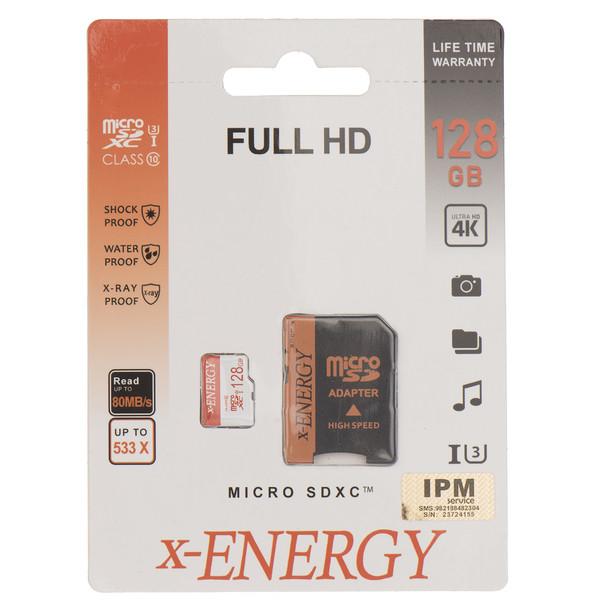 کارت حافظه microSDXC ایکس انرژی مدل IPM کلاس 10 استاندارد U3 سرعت 80MBps همراه با آداپتور SD ظرفیت 128 گیگابایت