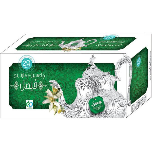 چای سبز و بهار نارنج کیسه ای فیصل مدل Green Tea Bitter Orange بسته 40 عددی