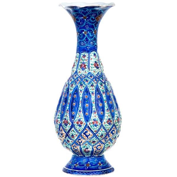 گلدان مسی میناکاری شده اثر شیرازی طرح 2 ارتفاع 16 سانتی متر