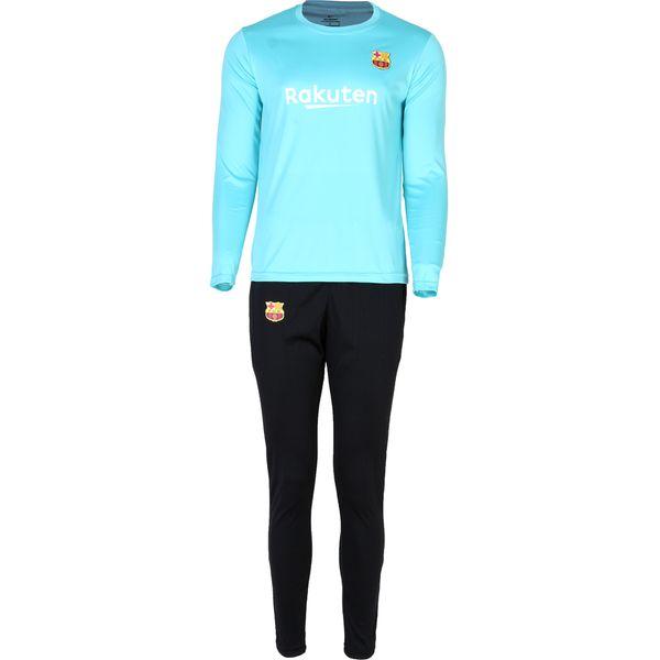 ست تی شرت و شلوار ورزشی مردانه طرح بارسلونا رنگ فیروزه ای