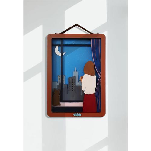 تابلو چوبی اچ آر دیزاین گروپ طرح شب پر ستاره