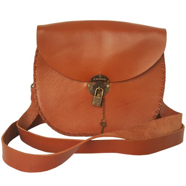 قیمت کیف رو دوشی زنانه چرم طبیعی گاوی دست دوز لمونو مدل کد KL645
