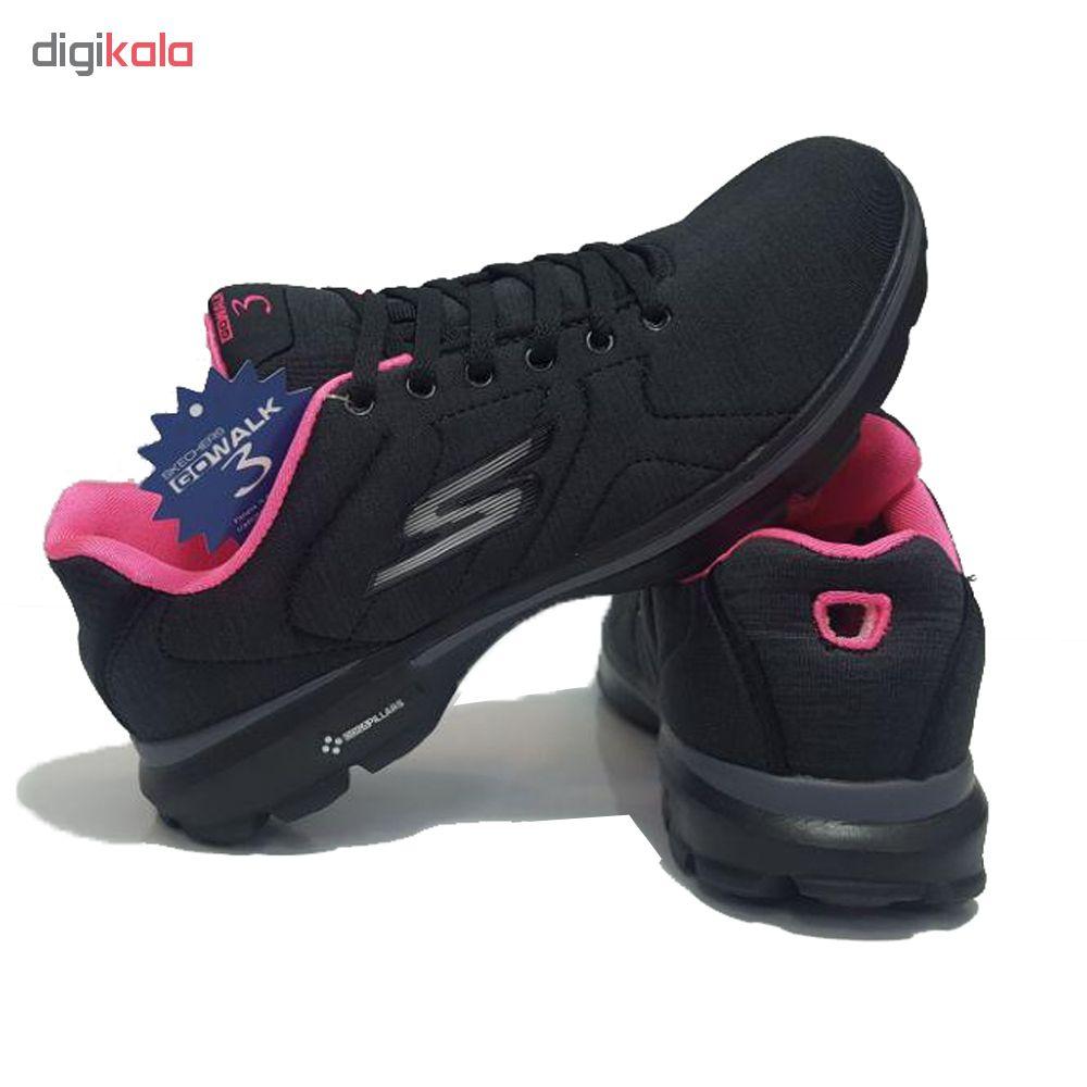 کفش مخصوص پیاده روی زنانه اسکچرز مدل GO WALK 3 -BLAK/PEA